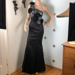 Black grey one shoulder mermaid prom gown dress
